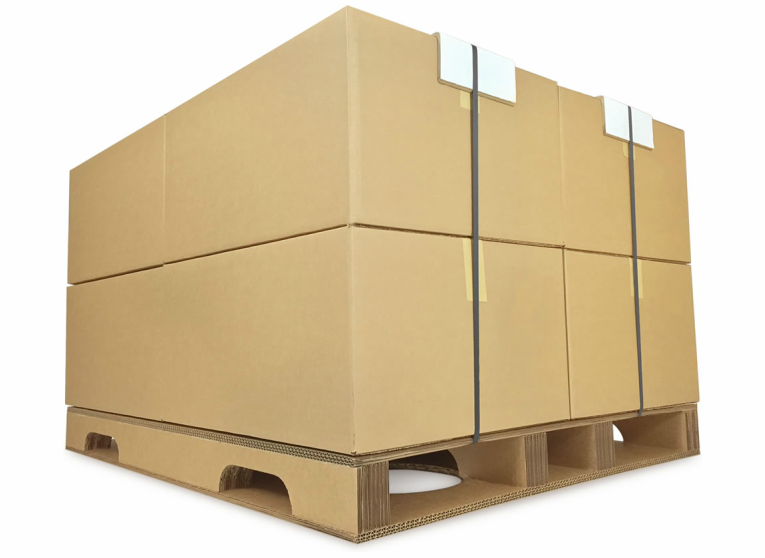 Ecodek Corrugated Pallet Boxes Strapped